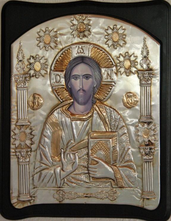 Silver Icon of Christ found inside Agios Sozon