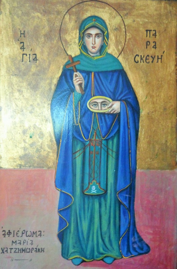 Icon of Saint Paraskevi inside Agia Parskevi Church at Tigani